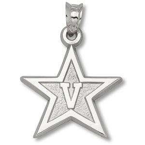 Sterling Silver 5/8in Vanderbilt University Star Pendant