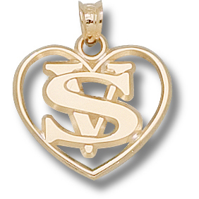 14kt Yellow Gold 5/8in Valdosta State Heart Pendant
