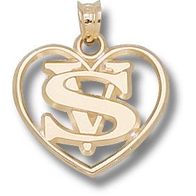 14kt Yellow Gold 5/8in Valdosta State Heart Pendant