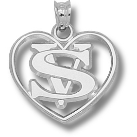 Sterling Silver 5/8in Valdosta State Heart Pendant