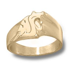 14kt Yellow Gold Washington State Cougar Head Men's Ring
