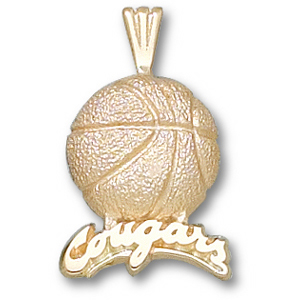 10kt Yellow Gold 3/4in Cougars Basketball Pendant