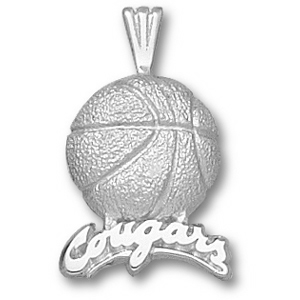 Sterling Silver 3/4in Cougars Basketball Pendant