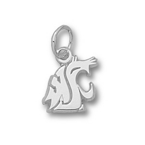 Sterling Silver 3/8in Washington State Cougars Head Charm