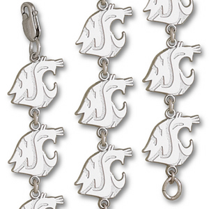 Washington State Cougars 7 1/4in Sterling Silver Bracelet