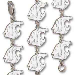 Washington State Cougars 7 1/4in Sterling Silver Bracelet