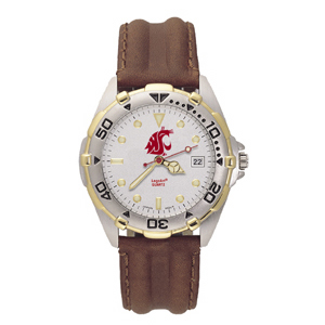 Washington State Cougars Mens All Star Leather Watch