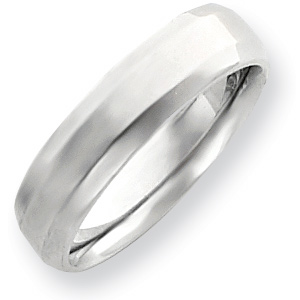 14kt White Gold 6mm Bevel Edge Comfort Fit Wedding Band
