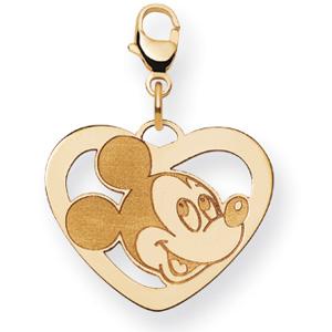 Mickey Heart Charm 5/8in - 14k Gold