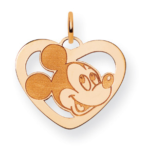14kt Yellow Gold 5/8in Mickey Mouse Heart Charm