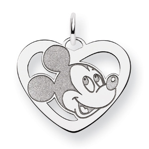 Mickey Heart Charm 5/8in - 14k White Gold