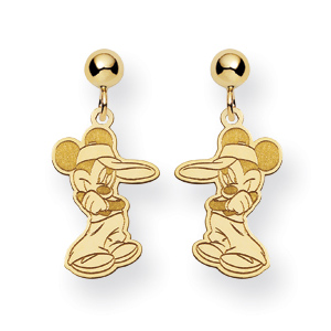Mickey Dangle Post Earrings - 14k Yellow Gold