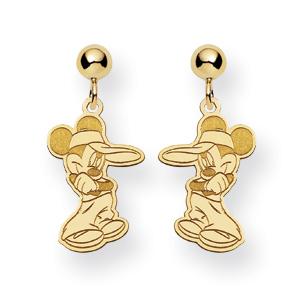 Mickey Dangle Post Earrings - 14k Yellow Gold