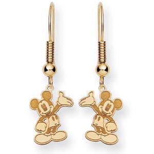 Waving Mickey Wire Earrings - 14k Gold