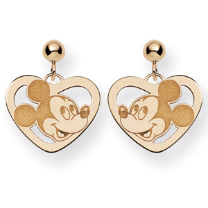 Mickey Heart Dangle Post Earrings - Gold-Plated