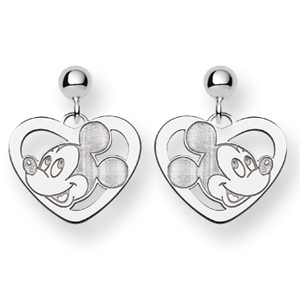 Mickey Mouse Heart Dangle Post Earrings - Sterling Silver