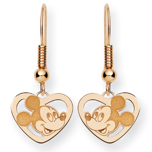 Mickey Heart Wire Earrings - Gold-Plated