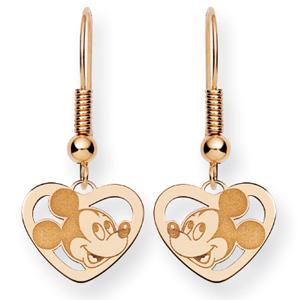 Mickey Heart Wire Earrings - 14k Gold