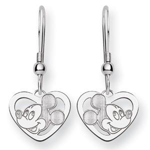 Mickey Heart Wire Earrings - Sterling Silver