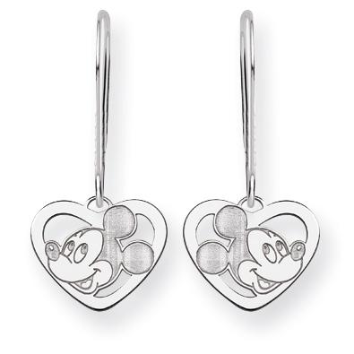 Mickey Heart Wire Earrings - 14k White Gold