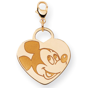 Mickey Heart Charm 3/4in - 14k Gold