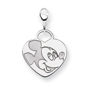 Sterling Silver 3/4in Mickey Mouse Heart Charm
