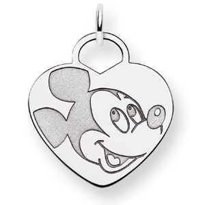 Mickey Heart Charm 3/4in - 14k White Gold