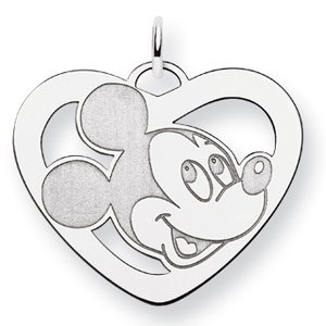 Mickey Heart Charm 7/8in - Sterling Silver