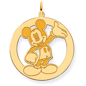 Waving Mickey Charm 1in - Gold-Plated
