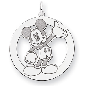 Waving Mickey Charm 1in - Sterling Silver