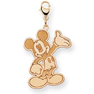 Waving Mickey Charm 1in - 14k Gold