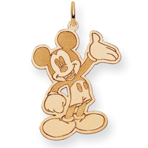 14kt Yellow Gold 1in Waving Mickey Mouse Charm
