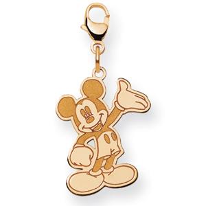Waving Mickey Charm 3/4in - 14k Gold