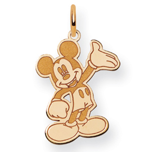 Waving Mickey Charm 3/4in - Gold-Plated
