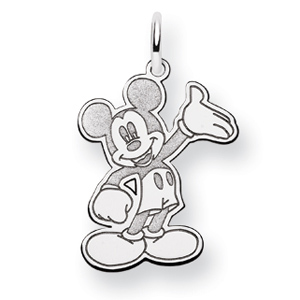 Waving Mickey Charm 3/4in - 14k White Gold