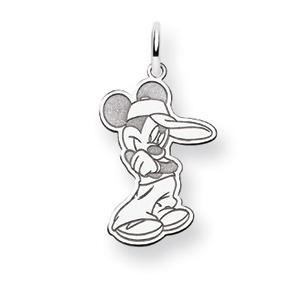 Mickey Charm 3/4in - 14k White Gold