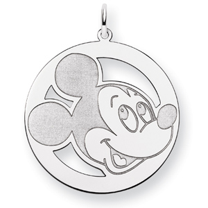 Round Mickey Charm 1in - Sterling Silver
