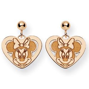 Minnie Heart Dangle Post Earrings - 14k Gold