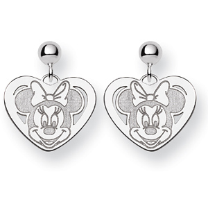 Minnie Heart Dangle Post Earrings - Sterling Silver