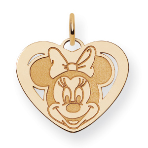 Gold-Plated Sterling Silver 5/8in Minnie Mouse Heart Charm