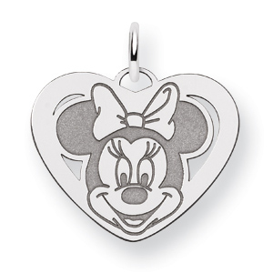 Sterling Silver 5/8in Minnie Mouse Heart Charm