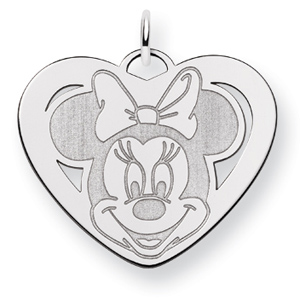 Minnie Heart Charm 7/8in - Sterling Silver
