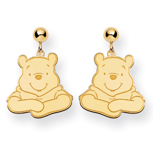 Gold-Plated Sterling Silver Winnie the Pooh Post Dangle Earrings