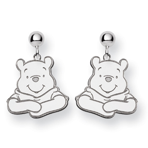 Sterling Silver Winnie the Pooh Post Dangle Earrings