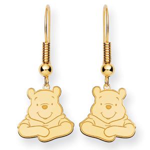 Gold-Plated Sterling Silver Winnie the Pooh Shepherd Hook Earrings