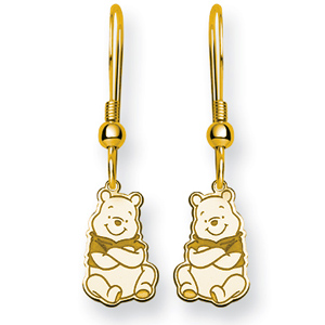 Gold-Plated Sterling Silver Winnie the Pooh Wire Earrings