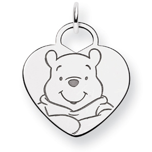 Sterling Silver 3/4in Winnie the Pooh Heart Charm