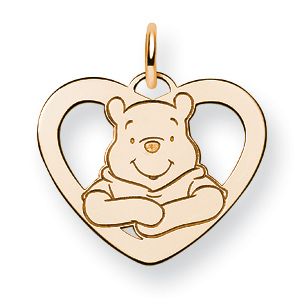 Winnie the Pooh Heart Charm 5/8in - Gold-Plated