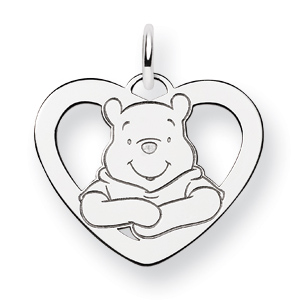 Sterling Silver 5/8in Winnie the Pooh Heart Charm