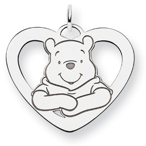 Sterling Silver 7/8in Winnie the Pooh Heart Charm